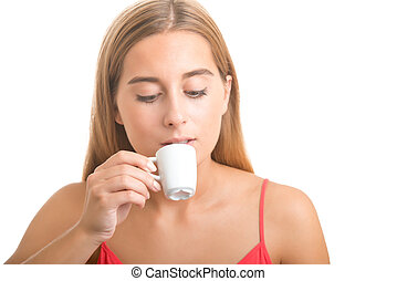 Woman Drinking an Espresso