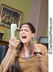 Woman Drinking and Singing at Phone