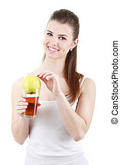 Woman drinking apples juice