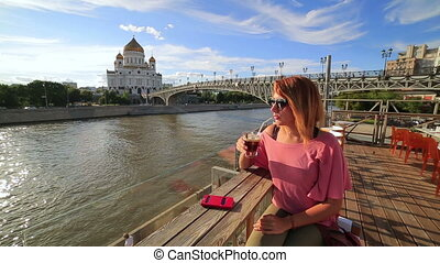 woman drinking cocktail, moscow city