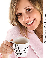 Woman drinking morning coffee