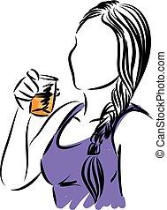 woman drinking orange juice vector illustration