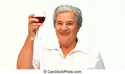Woman drinking some red wine