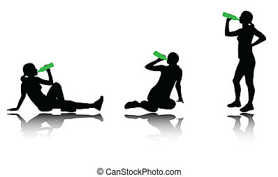 woman drinking water after training silhouettes - vector