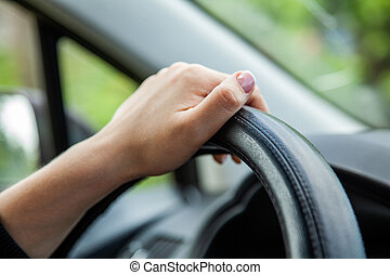 Woman driver, female hand on the wheel of the car