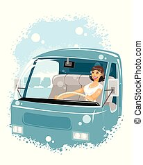 Woman driver in a car