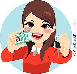 Woman Driver License And Car Keys