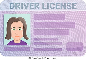 Woman driver license icon, cartoon style