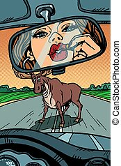 Woman driver looks in the mirror. wild animals on the road. Comic cartoon pop art retro vector illustration drawing