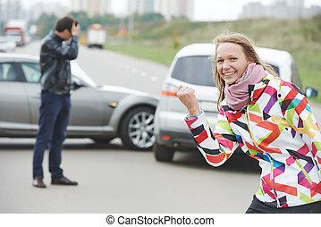 Woman driver. Not guilty - Woman behind steering wheel....