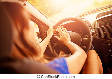 Woman Driver Pressing In A Horn