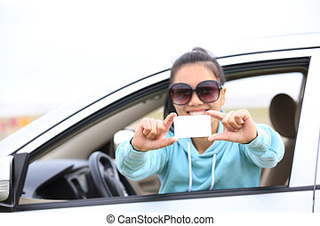 woman driver sit in car - woman driver sit in car hold one...