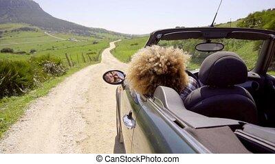 Woman Drives Along An Empty Road - Sexy black woman looks...