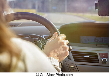 Woman driving a car, view from behind