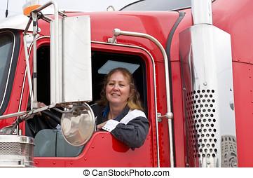 Woman driving an eighteen wheeler - Woman truck driver...