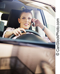 woman driving car