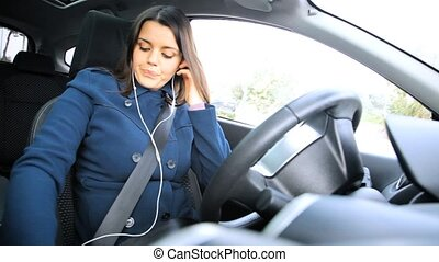 Woman driving making phone call