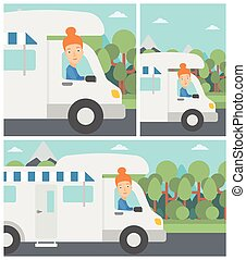 Woman driving motor home vector illustration. - Young woman...
