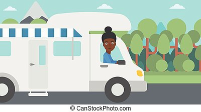 Woman driving motor home vector illustration. - An...