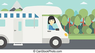 Woman driving motor home vector illustration. - An asian...