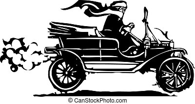 Woman Driving Vintage Car - Woodcut style expressionist...