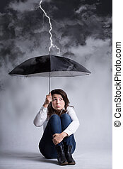 Woman during storm of her life