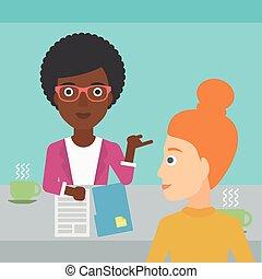 Woman during tv interview. - A journalist interviewing an...