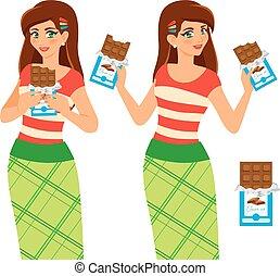 Woman eat chocolate