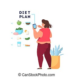 Woman eat healthy food. Calorie control and diet concept