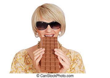 woman eat large chocolate
