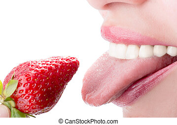 woman eat strawberry