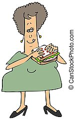 Woman eating a bologna sandwich