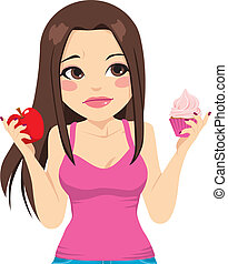 Woman Eating Apple Or Cupcake - Cute woman doubting between...