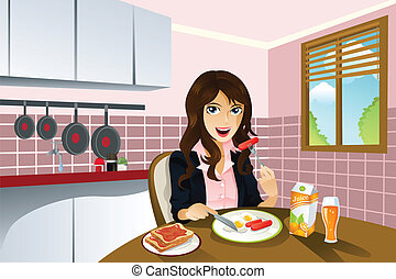 Woman eating breakfast - A vector illustration of a...
