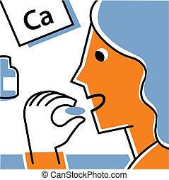 Woman eating calcium supplement