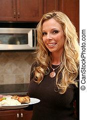 Woman Eating Dinner
