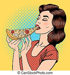 Woman Eating Pizza. Young Woman Holding Big Piece of Pizza. Pop Art. Vector illustration