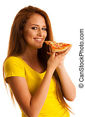 woman eats delicious pizza isolated over white background