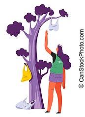 Woman eco activist collecting plastic litter, environmental ...