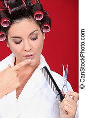 woman ein hairdresser salon