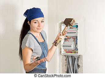 Woman electrician with a problem