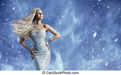 Woman Elegant Fashion Dress, Long Hair Waving on Wind, Beauty Model Posing over Blue Winter Background