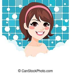woman ellankad, fürdőkád