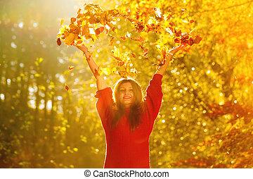 woman ellankad, zöld, eldob, liget, ősz, levegő