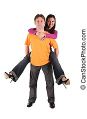 woman embracing man, man hold woman isolated on white
