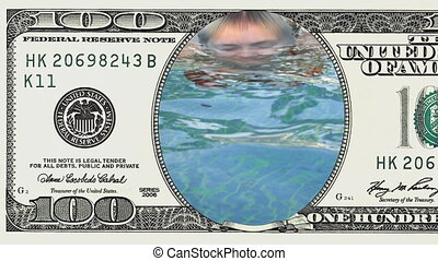 Woman emerging from the water in 100 dollar bill - Young...