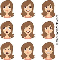 Woman emoji face vector icons. - Girl emotion faces cartoon...