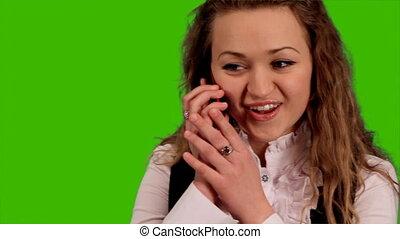 woman emotionally said cellular pho