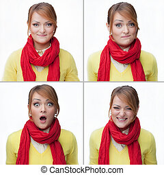woman emotions collage isolated on white