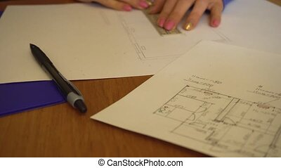Woman engineer architect drawing sketch - Women engineer...